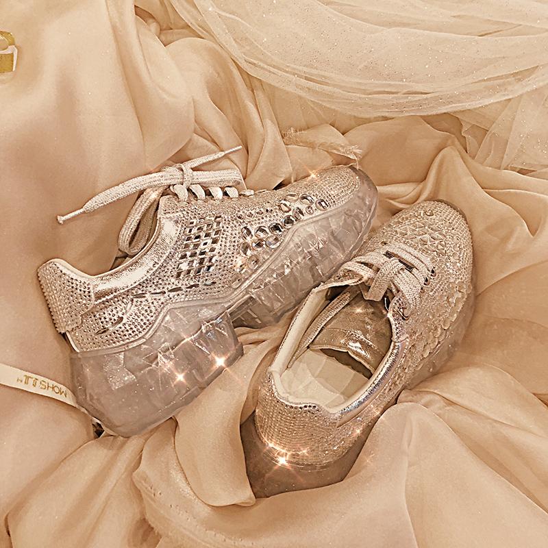 宋茜同款女运动鞋平底松糕水钻鞋2019春水晶果冻厚底增高老爹鞋