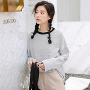 黑白条纹T恤女长袖打底衫2018秋季新款韩版宽松百搭学生chic上衣