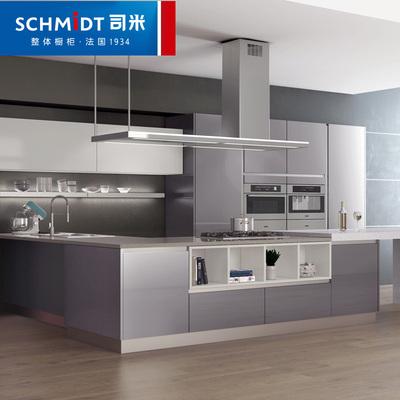 司米戛纳定制橱柜 整体开放式厨房闪银烤漆橱柜板材橱柜定制定金包邮