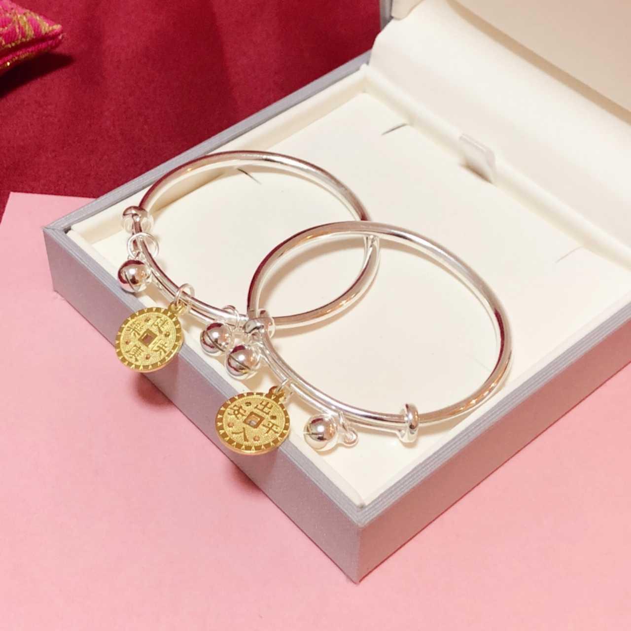 新款S999千足银宝宝铃铛铜钱吊坠纯银手镯一对约21克现货包邮