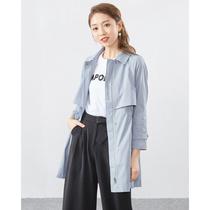 春季新款时尚百搭七分袖中长款蕾丝开衫外套女2019水墨青华