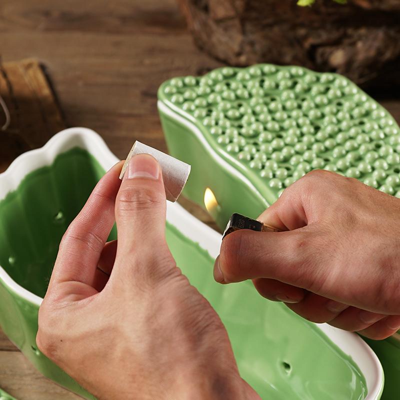 陶瓷足部温灸器养生艾灸器仪艾炙罐艾灸脚部艾灸盒家用艾灸鞋足疗