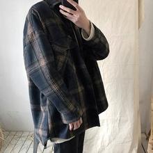 学生 日系格子宽松毛呢大衣男短款 青年冬季加棉加厚呢子外套潮韩版图片