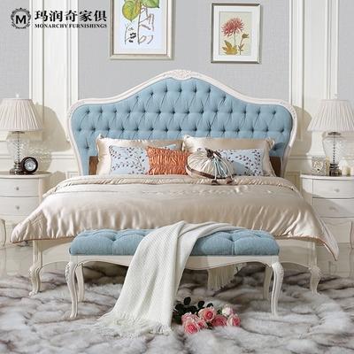 玛润奇新古典 白色实木床 简欧式布艺双人床卧室 实木床雕花公主