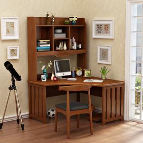 全实木转角书桌书架组合一体式橡胶木台式电脑桌家用写字台白色
