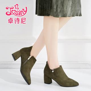 卓诗尼秋款鞋子粗跟拉链水钻女鞋尖头绒面高跟单鞋122720593