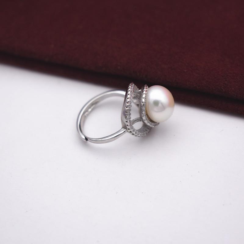 淡水珍珠戒指s925纯银大珍珠指环 活口可调节气质款珍珠首饰戒指