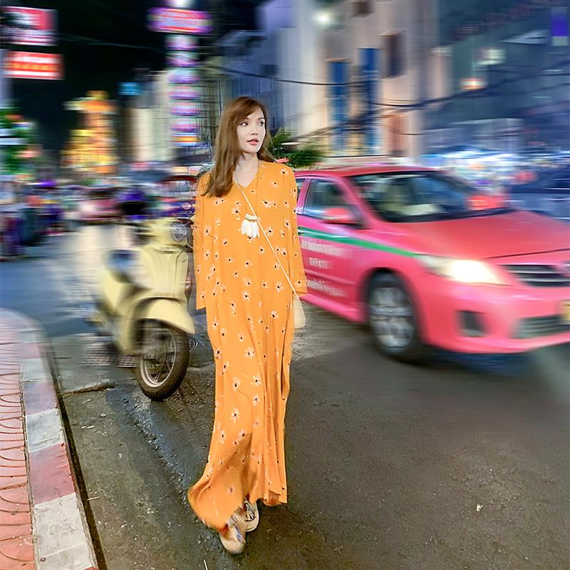 舞花肉原创自制Q50复古文艺出口丝绵旅行袍子宽松大码超长连衣裙