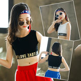 2019 summer girls yoga vests waist white dance tight letters fitness I-word black children short paragraph