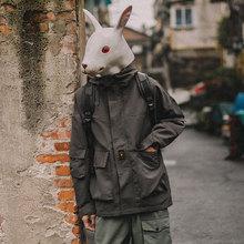 外套男日系复古青少年宽松休闲连帽纯色夹克 兔先森春秋装 潮流工装图片