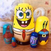 海绵宝宝卡通创意摆件生日礼品儿童玩具 手工礼物俄罗斯套娃5层