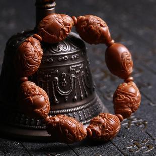 橄榄核手串海派财神核雕橄榄胡佛珠手链男女苏州名家宋水官文玩