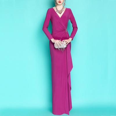 红毯女王~欧美2018新年美国大牌弹力V领荷叶超长礼服主持连衣裙