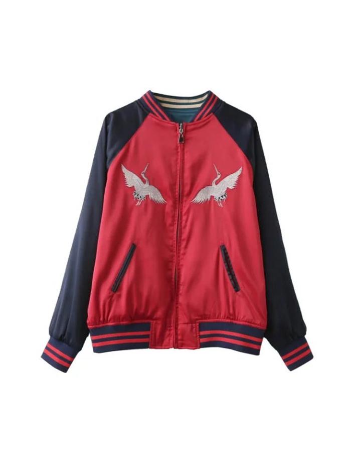 两面穿宽松仙鹤刺绣夹克红色棒球服夹棉学生外套女 秋冬关晓彤同款