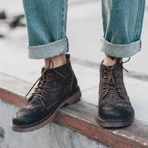 秋季马丁靴男高帮靴子男英伦短靴圆头真皮复古男鞋休闲鞋男工装靴