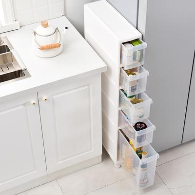 14CM窄缝收纳置物架塑料厕所收纳架抽屉式储物柜卫生间夹缝收纳柜