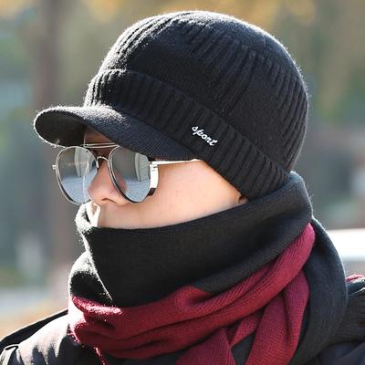 羊毛帽子保暖帽包头帽毛线帽针织帽子男士秋冬季加绒加厚围巾男潮