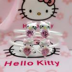 正生S990足银亲子手环HelloKitty凯蒂猫爱心开口纯银手镯水晶