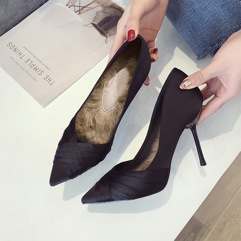 Net red French girl high heel stiletto princess sexy pointed 2018 autumn new  winter models wild b527d8adf3c6