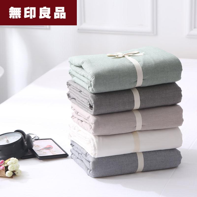 无印良品水洗棉床单单件纯棉纯色单人双人被单1.5/1.8m床笠全棉