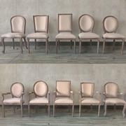 美式餐椅复古实木橡木家用北欧扶手椅咖啡厅会所西餐布艺休闲椅子