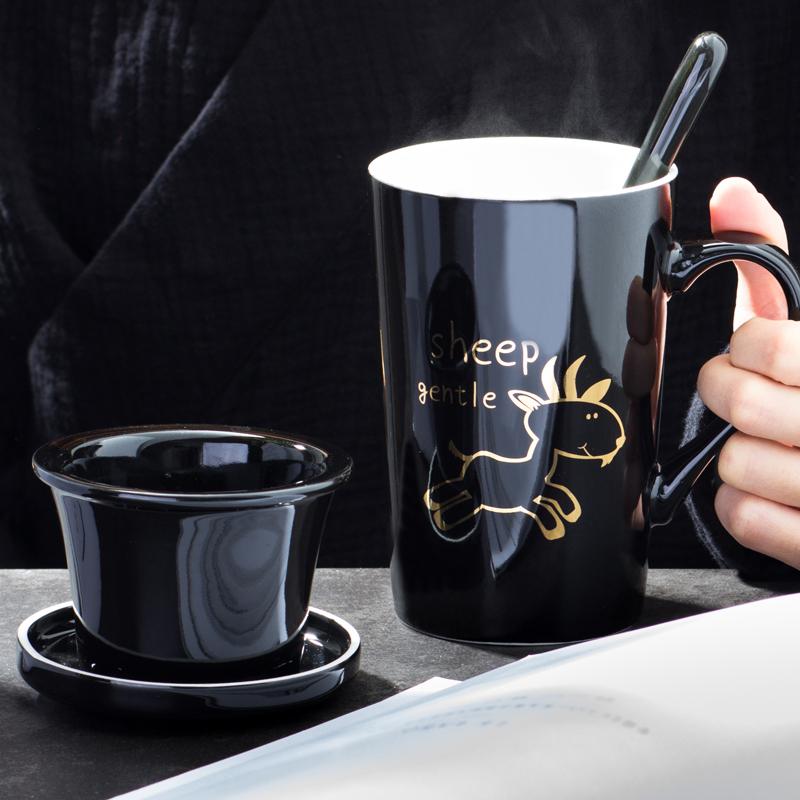创意卡通十二生肖陶瓷杯个性带茶漏水杯带盖勺咖啡杯办公室泡茶杯