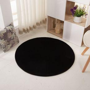 冬季圆形地毯 客厅茶几毛绒纯黑色地毯卧室床边 防滑圆地毯床前毯