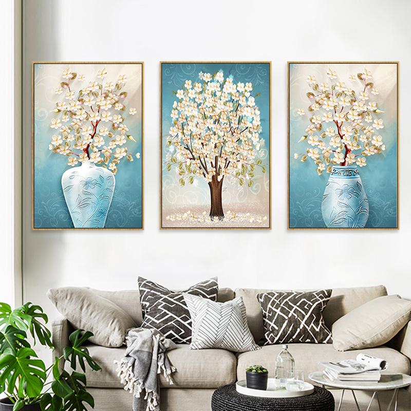 现代简约客厅装饰画卧室餐厅挂画水晶壁画沙发背景墙画三联北欧画
