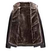 外套男保暖 皮夹克冬装 2018冬季中年男士 皮衣男加厚绒毛爸爸装图片
