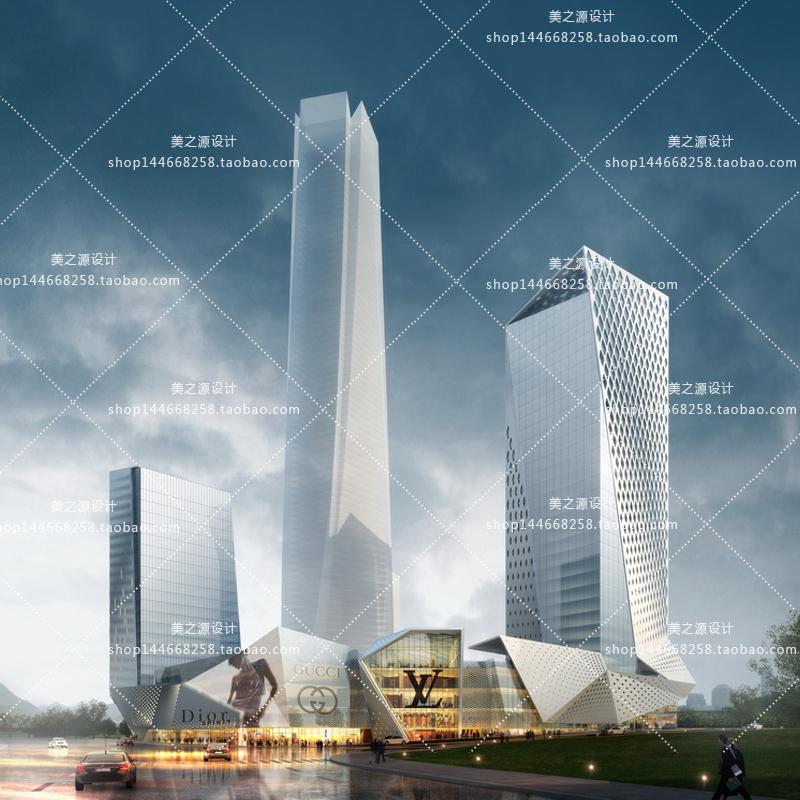 室外高层建筑办公楼PSD商业街效果图素材 PS后期配景景观设计精选