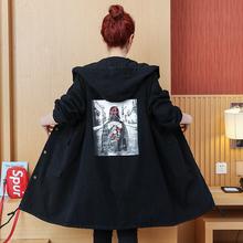 新款 连帽黑色牛仔外套时尚 2019春秋季装 韩版 中长款 印花休闲风衣女