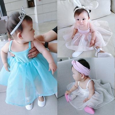 童童妈 婴儿哈衣欧根纱蓬蓬裙女宝宝公主裙子夏季打底吊带连衣裙