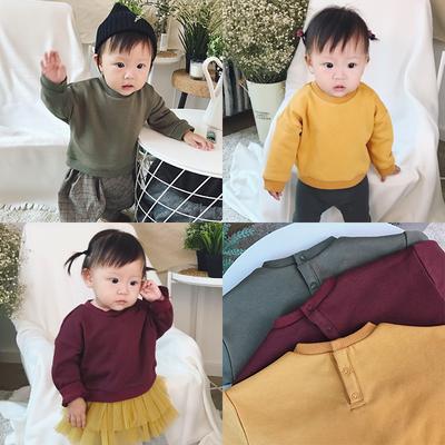 婴幼儿男女童装宝宝卫衣纯色长袖套头上衣百搭休闲