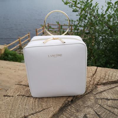 兰蔻专柜赠品18年新款白色方形带镜子化妆箱手环手提收纳包化妆包