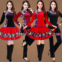 2018 square dance costume new gold velvet suit autumn and winter long-sleeved skirt pants dance dance clothes large size female