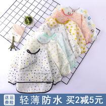绒面儿童罩衣宝宝吃饭秋冬倒褂女男童婴儿防水倒反穿罩衫围裙护衣