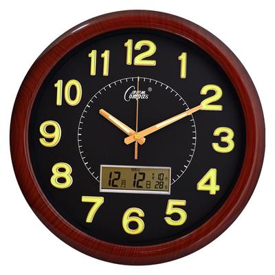 康巴丝电子日历挂钟客厅钟表静音时钟现代简约石英钟夜光万年历哪里便宜