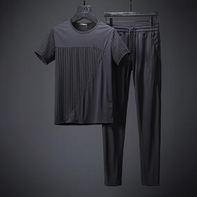 高端品质 面料如牛奶丝般顺滑立体拼接工艺 夏薄款休闲运动套装男