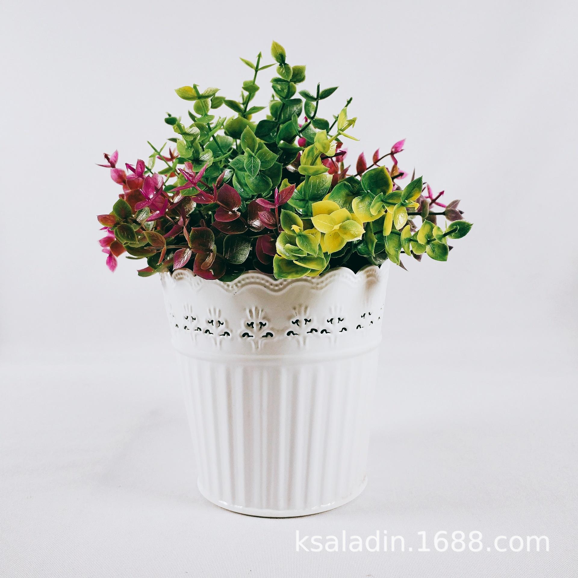 欧式创意铁艺花盆多肉花盆田园花器仿真花鲜花花桶盆栽盆景装饰