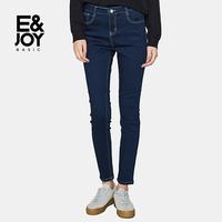 Etam/艾格 E&joy2017冬新品经典纯色修身牛仔裤8A2023004