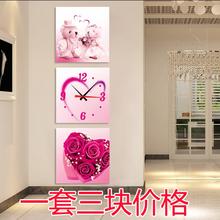 饰画 无框画挂钟三联画艺术钟表流行创意客厅挂钟现代玄关装 静音