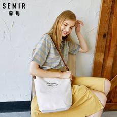 Senma female bag 2018 new Korean version of the simple casual personality single shoulder Messenger bag college wind student canvas bag