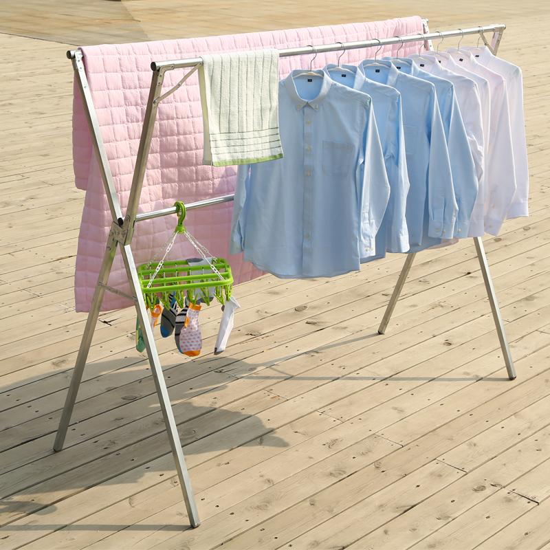 晾衣架落地折叠卧室内不锈钢伸缩凉衣服晒被子神器简易阳台挂衣杆