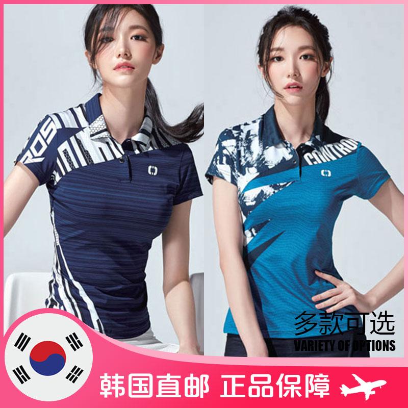 PEGGYNCO羽毛球服 韩国直邮女多款运动短袖 翻领炫彩速干透气个性