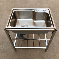 Sink with bracket kitchen stainless steel single trough double trough sink sink sink thickened bracket