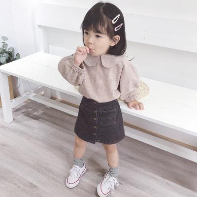 橘汁家女童韩版小格子衬衫宝宝秋装2018新款儿童洋气纯棉长袖衬衣
