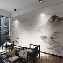 新中式水墨山水画墙纸现代抽象意境客厅卧室背景墙壁纸艺术壁画布