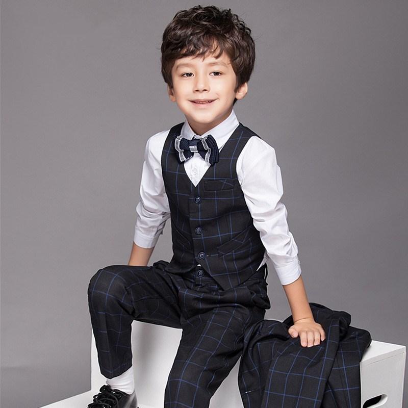包邮儿童钢琴表演服装男童西装套装白色花童主持人礼服外套春季10