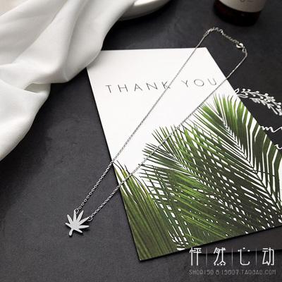 日韩版简约小清新森系学生创意潮人叶子吊坠项链女锁骨链颈链饰品