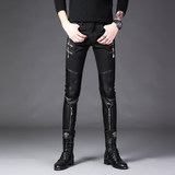 Spring men's leather pants slimming small leg pants patchwork leather show men's pants fashion tight pants zipper